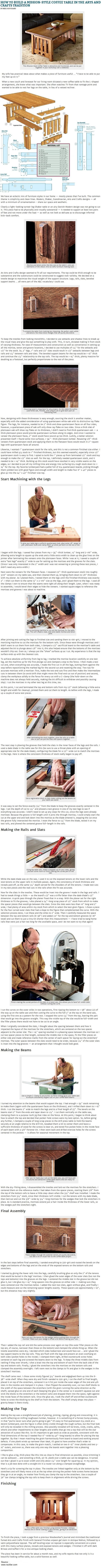 How to Build a Mission-Style Coffee Table in the Arts and Crafts Tradition | WoodworkerZ.com