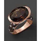 Smokey Quartz Ring With Diamonds and White Sapphires in 14K Pink Gold