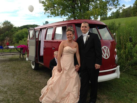 Bridal couple posing with Ruby! In Essex, VT.