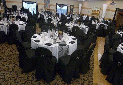 Gotcha Covered Linens black chair covers, black sash bands and black flocked runners