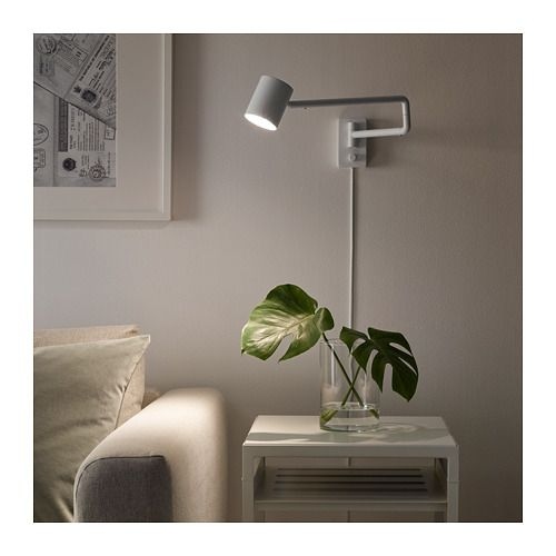 Nymane Wall Lamp With Swing Arm Led Bulb White Avec Images Eclairage Du Salon Eclairage Mural Lampe Ikea