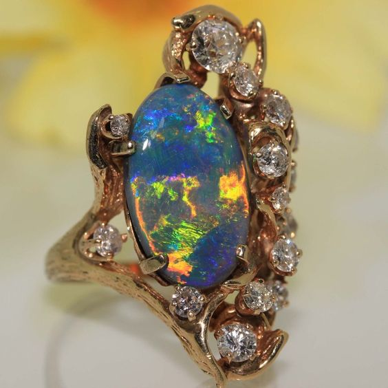 estate 14k gold natural solid Australian Black OPAL & Diamond ring 7.37ct BEAUTY