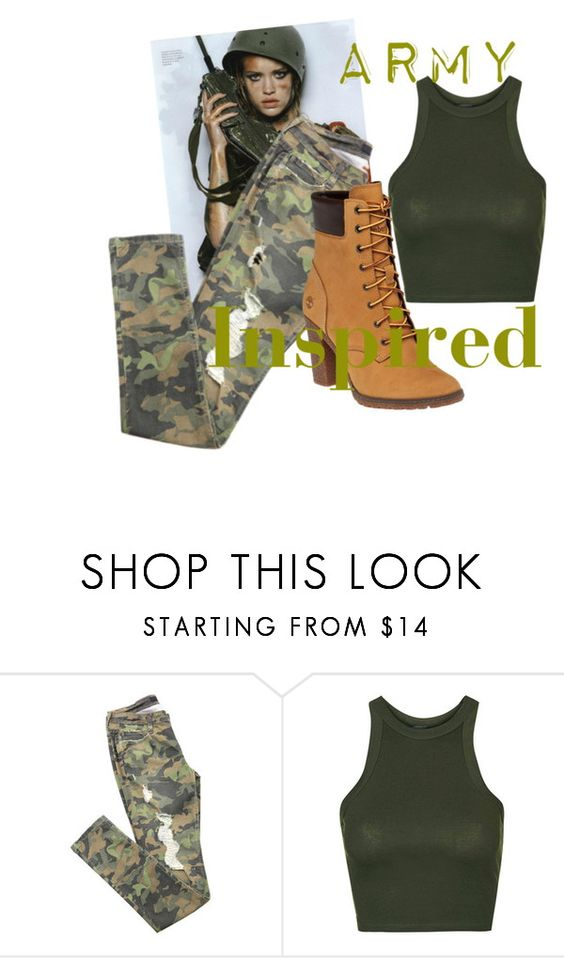 """""""Army Inspired"""" by designation on Polyvore featuring Topshop, Timberland and camostyle"""