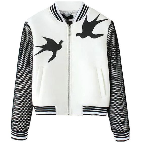 Swallow Applique Varsity Jacket (€25) found on Polyvore featuring women's fashion, outerwear, jackets, bomber, coats, coats & jackets, white, white bomber jacket, white jacket and bomber style jacket: