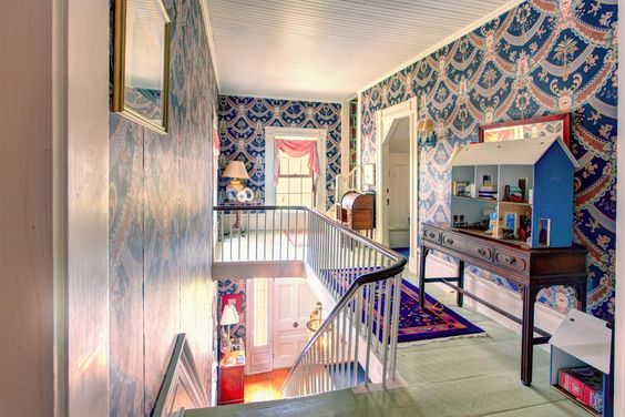 A view of the front entrance of #WinterwoodatPetersham from the second floor foyer. Note the painted wide pine floors. #Bedandbreakfastforsale http://www.19northmainstreet.com