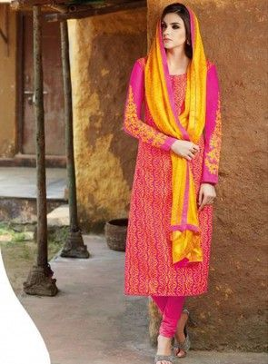 #Pink and #Yellow Bhgalpuri #Silk #Churidar #Suit Features on bhagalpuri silk fabric printed top and Maching bottom, embroidery work on sleeves and chiffon matching dupatta.