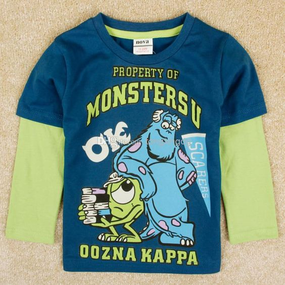 Wholesale Baby Boy Clothing - Buy Nova Brand New 2014 Designer Baby Boy Clothing Monsters University Cartoon T-shirts Long Sleeve Shirts Jumping Beans T-shirt Blue A5090Y, $5.39 | DHgate