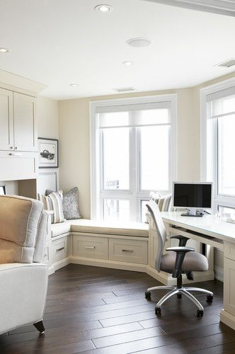 Organized work space - traditional - home office - toronto - Jacqueline Glass and Associates ~ I know it's white but I LOVE IT!!! The nook, the desk facing the window, it even looks like it maybe in a living area so that you aren't in a room all alone.