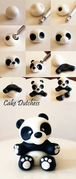 How to make panda with polymer clay
