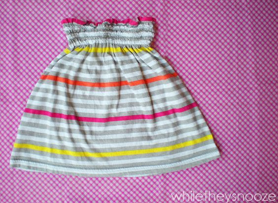 While They Snooze: Simple Shirred Skirt {from an old tank} Shirring tutorial
