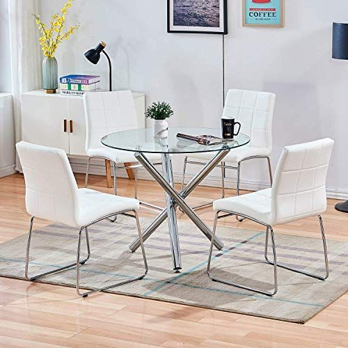 New Stylifing Dining Table Chairs Set Round Clear Glass Top Crisscrossing Chrome Metal Legs Kitchen Table 4 Sled Based White Faux Leather Chairs Dining Set Ho In 2020 Glass Dining Table