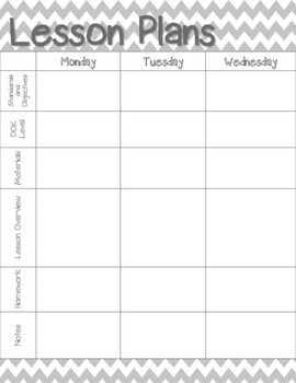 Weekly Lesson Plan Template Chevron Lesson Plans