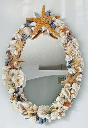 Dicas para Decoração: Espelhos decorados com conchas do mar: