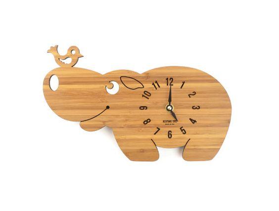 Wooden Clock Hippo, Baby Nursery Wooden Clock, Gift for Children, Wood Animal Clock, Modern Office Decor, KeepsakeToys