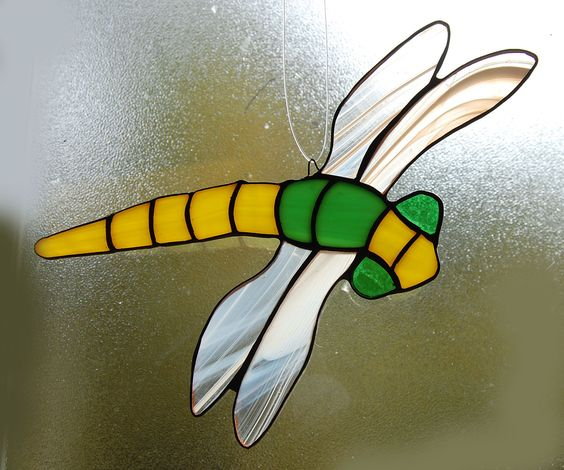 STAINED GLASS Dragonfly in Yellow and Green.