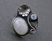 moonstone and oxidized silver
