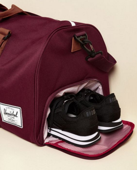burgundy and tan weekend bag