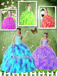 Strapless Appliques and Ruffles Sashes for 2014 New Sweet 15 Dresses