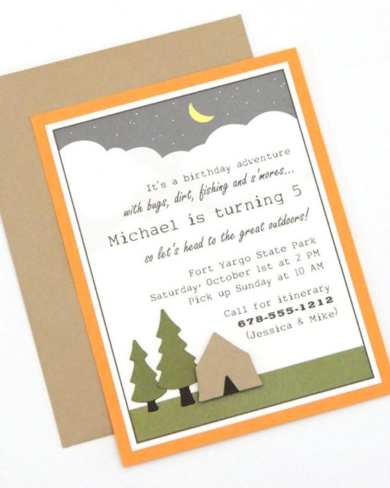 Camping Handmade Birthday Party Invitation | Invitations | Pinterest | Einladung zur ...
