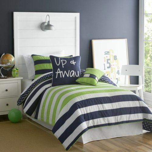 Farbgestaltung fürs Jugendzimmer – 100 Deko- und Einrichtungsideen - bettdecke streifen jungen zimmer wandlampe teenage