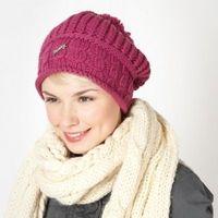 Dark pink slouched knit beanie hat