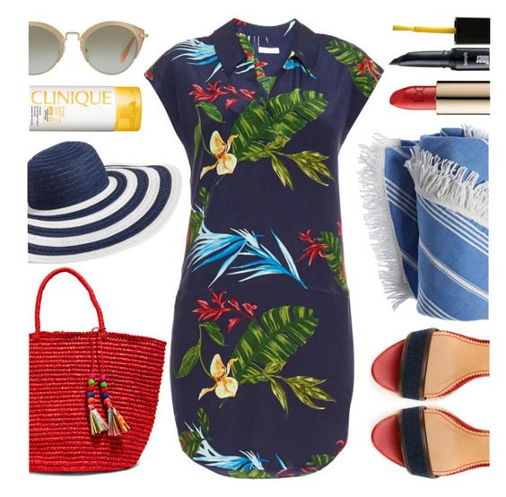 """Hot Tropics"" by mmmartha ❤ liked on Polyvore featuring Dolce&Gabbana, Benefit, Dsquared2, Miu Miu, Vera Bradley, Sensi Studio, Equipment, Clinique and Lauren B. Beauty"