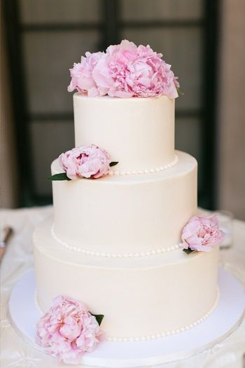Classic Wedding Cake with Pink Peonies
