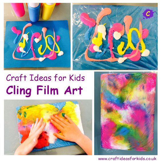 What you need to make Cling Film Art: Card Paint – Various Colours Cling Film Cling Film Art Start by squirting dollops of paint in various directions, colours and amounts onto card. This is a great opportunity for your crafty kid to work those fine motor skills by…. Applying different amounts of pressure to the …
