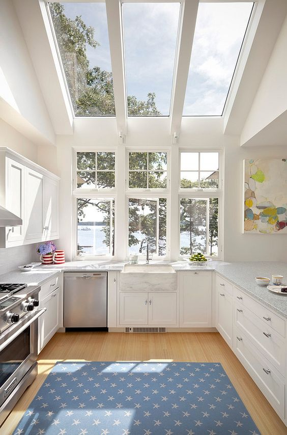 "#kitchen #cottage kitchen  Let there be (sky)light! I spend a lot of time in the kitchen, even at the cottage so I may as well harness the natural light and capitalize on the views!  ""Contemporary kitchen in white opens up towards the view outside"".:"