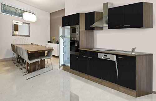 Respekta Cuisine Equipee Imitation Chene York Noir 340cm Avec Four