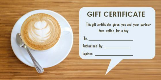 Gift Certificate Free Coffee Free Coffee Gift Certificates Certificate