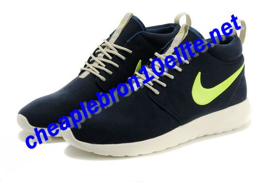 Navy Blue Nike Roshe Run Suede Mid Womens Volt White Sails\u2026