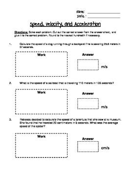 Speed, Velocity, and Acceleration Engaging Cut and Glue Worksheet ...