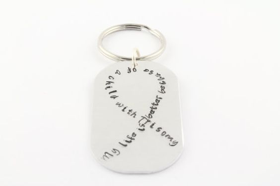 My Life Is Better Because of a Child with Trisomy Keychain - Awareness Ribbon - Down Syndrome