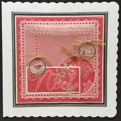 Christmas border and Snowflake plate Groovi card created Lynne Jackson