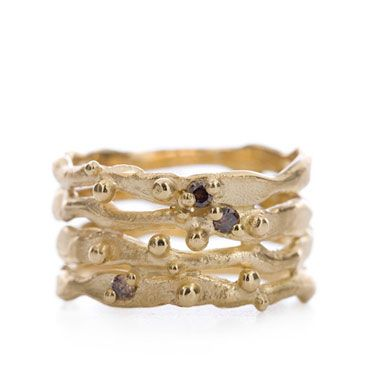 Gouden ring met bruine diamanten   Wim Meeussen Goudsmid Antwerpen