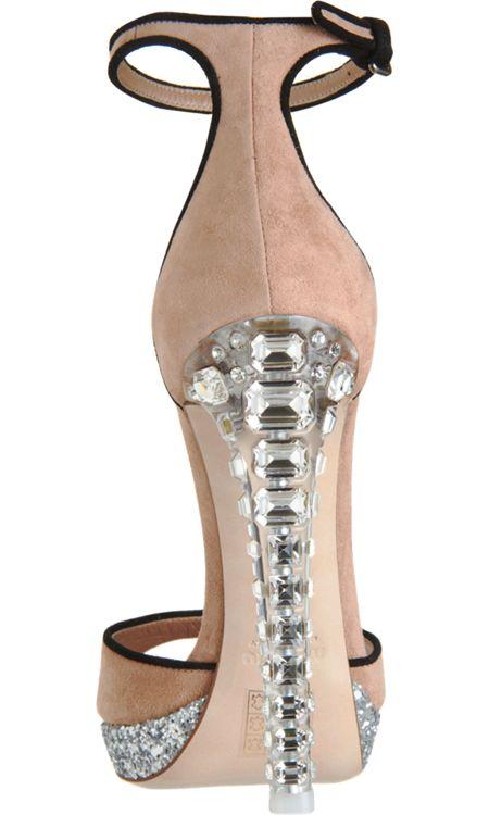 Miu Miu Crystal Heel Platform #Sandal