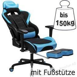 Songmics Gaming Stuhl Rcg52bu Mit Fussstutze Schwarz Blau Netz Kunstleder Bis 150 Kg Songmicssong Kunstleder Schwarz Blau Und Leder