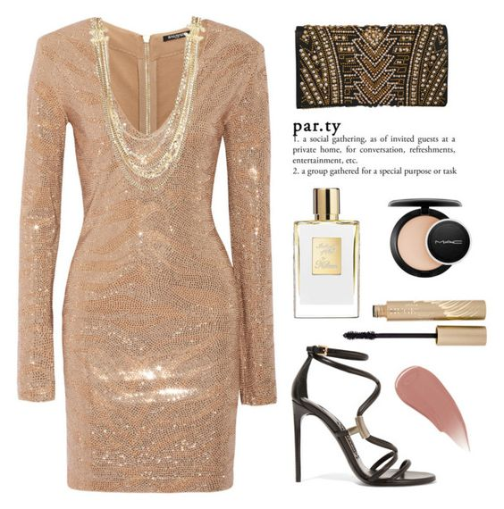 """""""par.ty"""" by yoshigirl28 ❤ liked on Polyvore featuring Balmain, Chanel, Tom Ford, Stila, MAC Cosmetics, Burberry, dress, party and glam"""