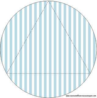 Azul Poá e Listras - Kit Completo com molduras para convites, rótulos para guloseimas, lembrancinhas e imagens!