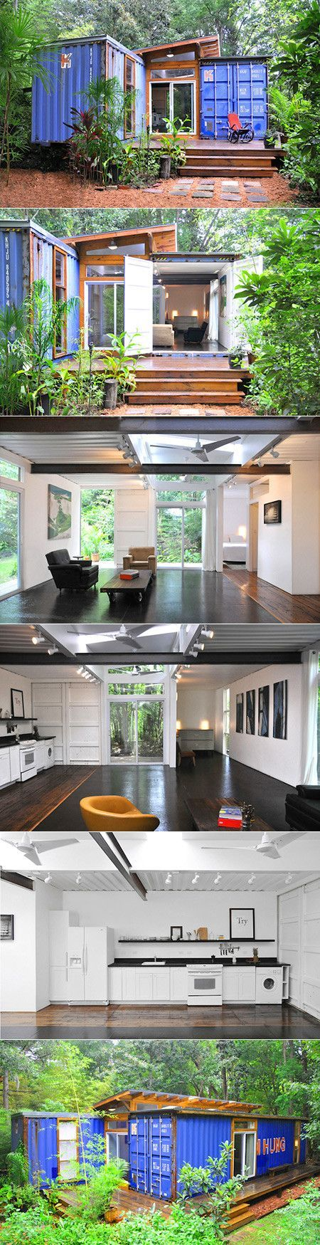 Shipping container homes offer up an economical and interesting space to live in on a budget and in style. Price Street Projects has created this residence for a young couple thats filled with style on both the inside and out. Its sleek and modern, unique and insightful, and best of all it is situated in the Savannah, Georgia woods.