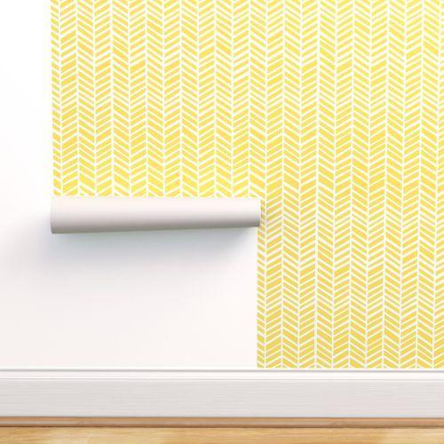 Herringbone Lemon Zest Yellow Herringbone Wallpaper Self Adhesive Wallpaper Peel And Stick Wallpaper