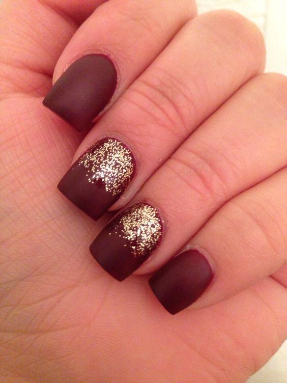 Matte burgundy deep red nails: