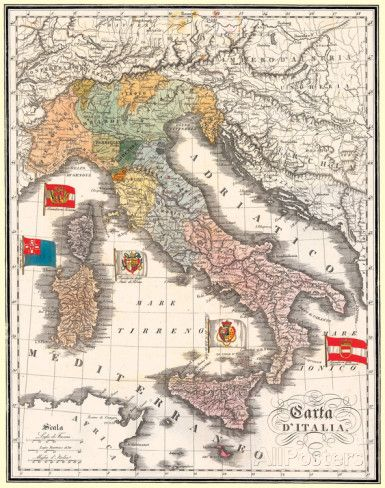 Carta D' Italia (Map of Italy) - Antique Style Italian Map Poster Poster at AllPosters.com