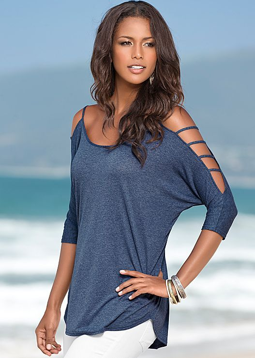 Heathered Navy Sleeve detailed top from VENUS. Sizes XS-XL!