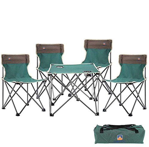 Portable Folding Chair Outdoor Folding Table Chair Set 5 Pcs Portable Collapsible Table Chairs Leisu With Images Outdoor Folding Chairs Outdoor Folding Table Fishing Chair