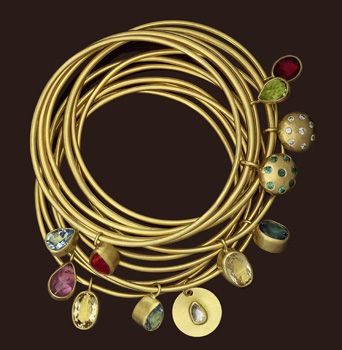 Jewelry Ideas: Shown: Gold and assorted stone bangles - www.JosonJewelryHome.com