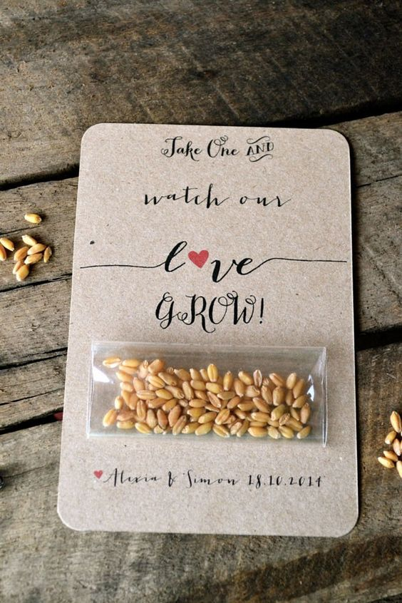 These seeds look much more impressive on this piece of card stock than they would on their own.  You could use this same idea for popcorn kernels or lucky trinkets. | See more wedding favor bags and boxes here: http://www.mywedding.com/articles/wedding-favor-bages-and-boxes/