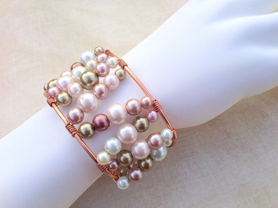 Wire Wrapped Copper Cuff with Pearls Neutral by LucidDreamsJewelry, $19.00