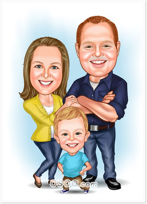 Family Photo Cartoon : family, photo, cartoon, Family, Three, Caricature,, Caricature, Sketch,, Drawing